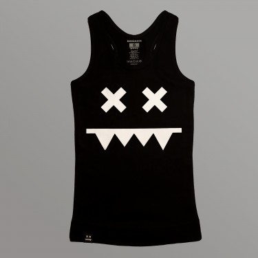 Girl's tank top White on Black