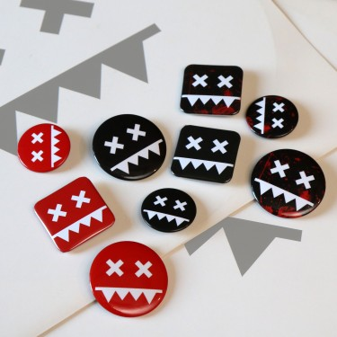 Eatbrain Pin Badges Bundle (Black, Red, Blood)