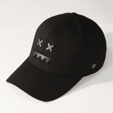 Metal Logo Snapback Dad Hat Matte Black